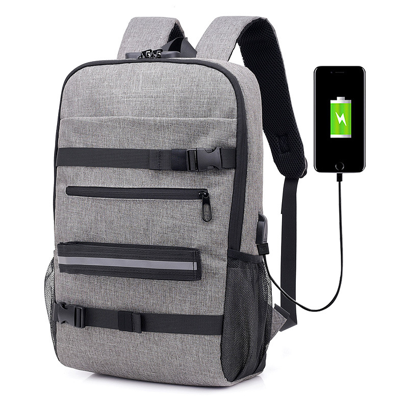 2019 New Trend Anti-Theft Password Lock Usb Canvas Shoulder Bag Men And Women Leisure Travel Computer Skateboard Backpack