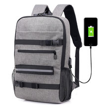 2019 New Trend Anti-Theft Password Lock Usb Canvas Shoulder Bag Men And Women Leisure Travel Computer Skateboard Backpack(China)