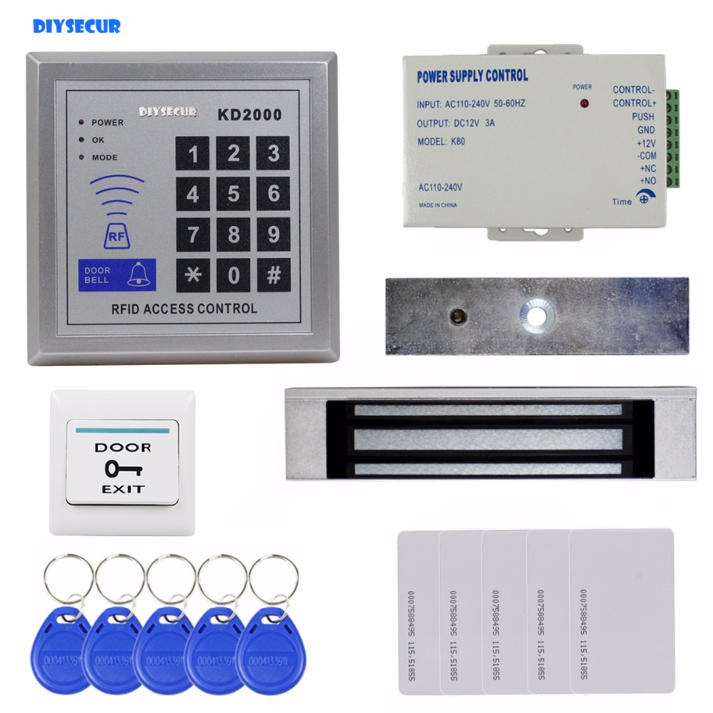 DIYSECUR Full Kit Set 125KHz RFID Keypad Access Control System Security Kit + 180kg 350lb Magnetic Lock KD2000 title hbwrf 180 lb
