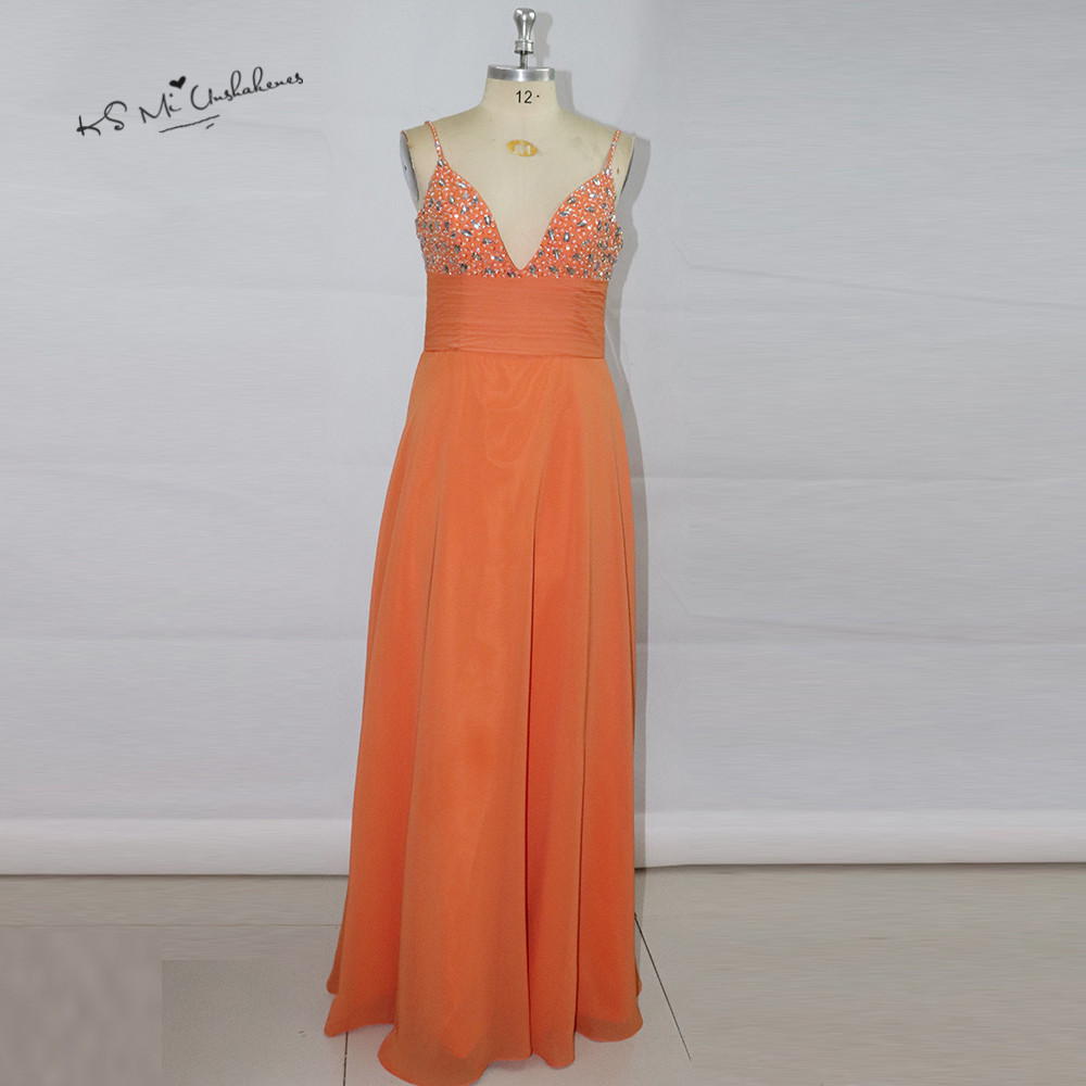 Sexy Orange Long Wedding Guest   Dresses   2017 Crystals   Bridesmaid     Dress   Beads Elegant Cheap Prom   Dress   Vestido de Gala Festa Baile