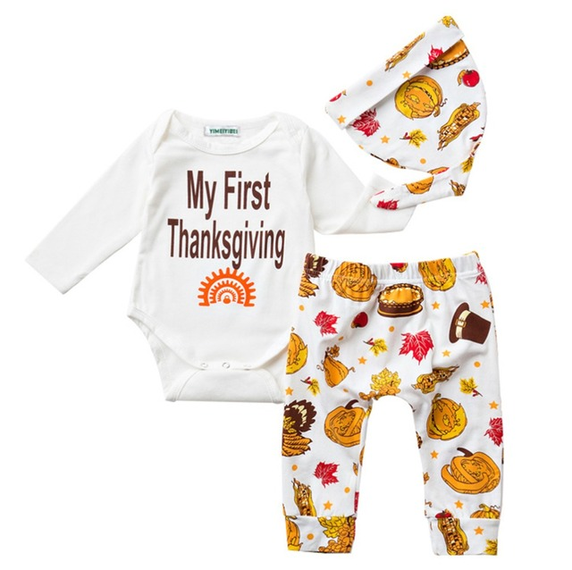 036b9c27902 2017 Baby Boys Girls My First Thanksgiving Romper and Turkeys Pants Outfit  with Hat turkey set