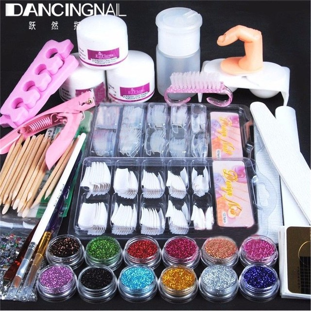 New Professional Acrylic Powder Glitter False French Tips Polymer Builder Nail Brush File Deco Scissors DIY Nails Art Kit Set