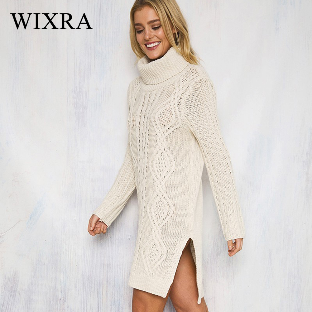 Wixra 2017 Women Sweaters And Pullovers Ladies Side Split Warm Dress Solid Turthleneck Ripped Knitted Sexy Mini Dress For Women