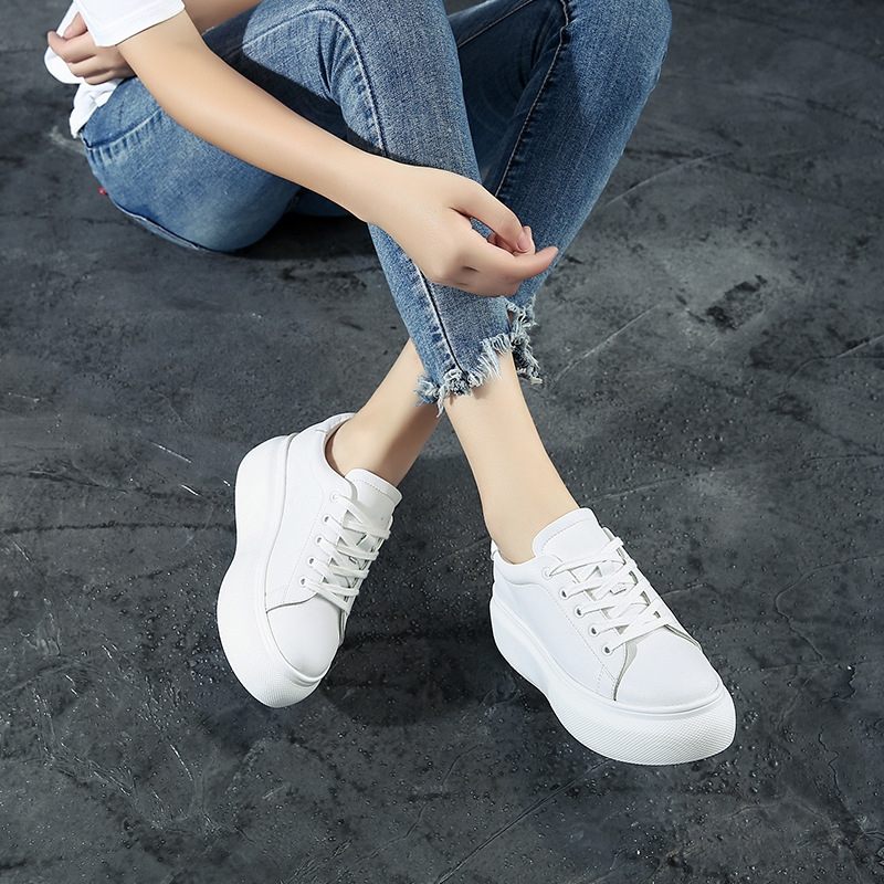 Confortable Épaisse Semelle Nouvelle Couleur Cuir Plat Simple Chaussures Casual 2018 Automne Sauvage Mode Femmes En Chaussures Solide Pur Tendance wqpY07n