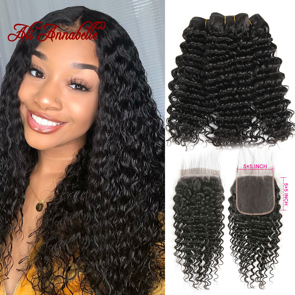Deep Wave Human Hair Bundles With 5x5 Closure Remy Human Hair 3 Bundles With Closure Brazilian