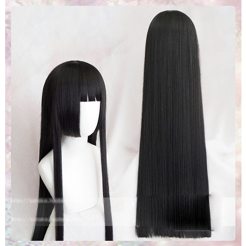 100cm Kakegurui Yumeko Jabami Cosplay Wigs Black Straight Heat Resistant Synthetic Hair Perucas Cosplay Wig + Wig Cap