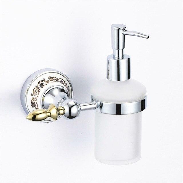 US $27.12 20% OFF|Vintage Keramik Überzogene Waschen Seifenspender  Europäischen Gold Poliert Flüssigseife Halter Wandhalterung Bad accessoires  Gm5 in ...