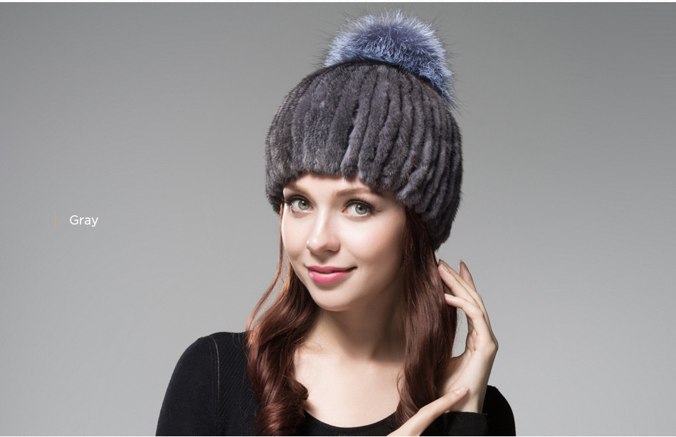 mink fur winter hats for women PCM010 (18)