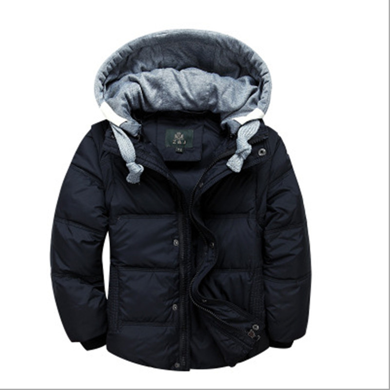 Children boys down jacket fashion hooded thick solid Warm White Duck Down Coat Boy Winter Clothes Kids Outwear 2017 Winter 2016 winter boys wadded jacket kids hooded spider printed thick fleece red blue coat toddler warm outwear children clothes 2 4t