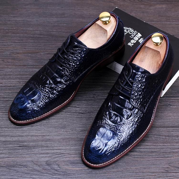 Mariage Arrivée marron Britanniques Loisirs Noir Errfc Hommes D'affaires Chaussures De rouge Sport Cuir Crocodile Mode Brun Robe bleu Motif Nouvelle En Hxq15nAwa