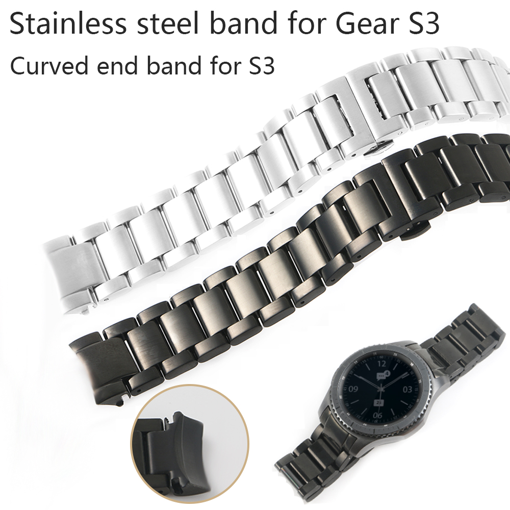20/22mm Watch Band For Samsung Gear S3 Stainless Steel Strap Solid Curved End Watchband Replacement Watch Wrist Frontier Classic