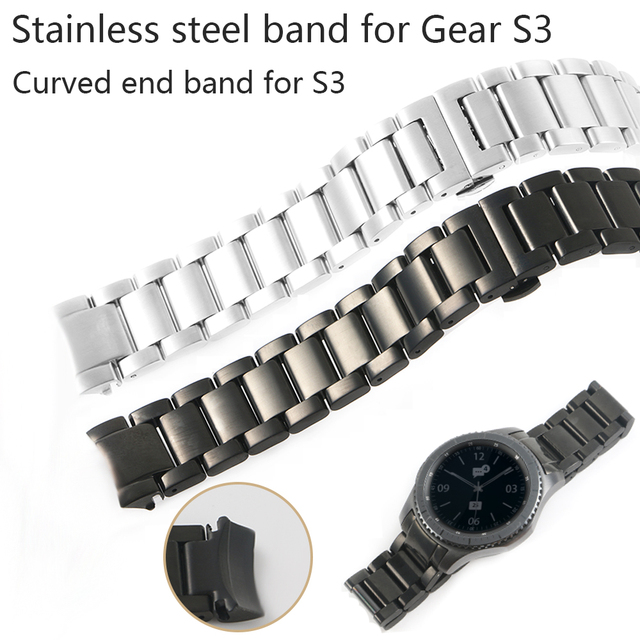 22MM Man Watch Bands For Samsung Gear S3 Stainless Steel Business Strap Solid Wa