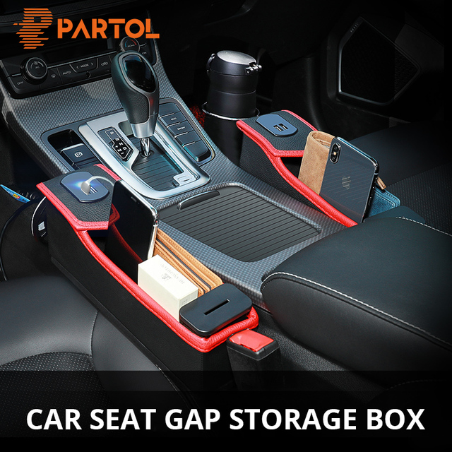 Partol USB Charging & Coin Box 1pc Car Seat Crevice Organizer Black/Beige Storage Container for Seat Gap Auto Stowing Tidying