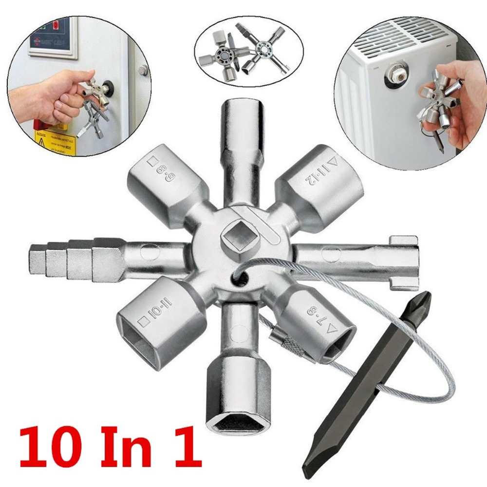 10 in 1 Multi function Electrician Plumber Cross Switch Wrench Set Universal Square Triangle Key Spanner for Gas Bleed Radiator10 in 1 Multi function Electrician Plumber Cross Switch Wrench Set Universal Square Triangle Key Spanner for Gas Bleed Radiator
