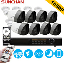 SUNCHAN Full 8CH 1080P CCTV System 1080P DVR 2.0mp Waterproof Outdoor Video Surveillance Security Camera System 8CH DVR Kit 1TB(China)
