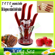 High quality Plum blossom decal 6 pcs Zirconia kitchen set Ceramic Knife Set 3″ 4″ 5″ 6″ inch + Peeler+ Holder, Free shipping