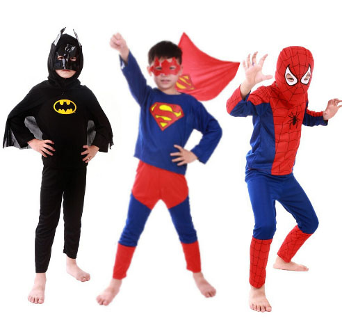 1 Set Superman Batman Spider-Man Cosplay Halloween Suit For Children Kids Boy Girl Funny Hero Cloth Party Show Disfraces Quality