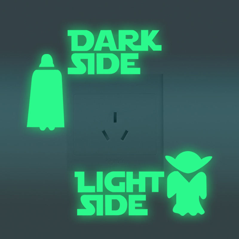 Another version of luminous dark side and light side sticker for room decoration