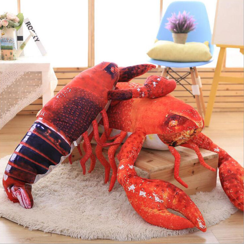 90cm Plush Doll Toys Simulation Lobster Creative Plush Crayfish Dolls Show Props Gifts Marine Animals Skin Shrimp Pillow plush animals black footed ferret doll stuffed children s toys simulation animal dolls rare gifts