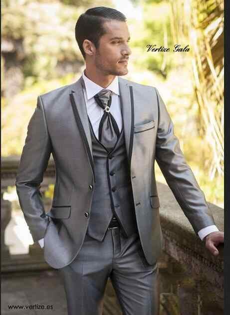 新しい2017別注スーツシルバー新郎タキシード花婿の付添人ベストマンスーツsilmフィットメンズ結婚式/ビジネス/新郎スーツジャケット+パンツ+ベスト
