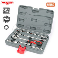 Hi Spec 11pc 3/8 Spark Plug Socket Wrench Hex Socket Adapter Torque Wrench Spanner Set Ratchet Wrench Mechanics Tool Box Set