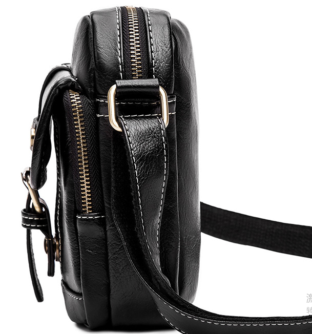 Personality Men PU Leather Small Shoulder Bag Easy-to-carry Mens Casual Mini Briefcase Chic Commuter Bags Bolso Hombre D821