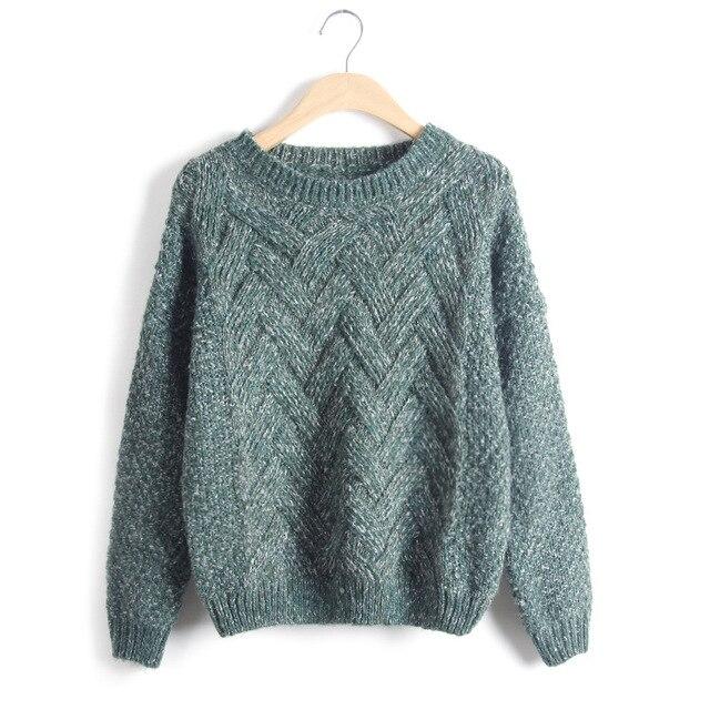 Loose Vintage Knited O-Neck Pullover  3