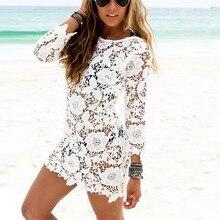 Для женщин летние Пляжные наряды пикантные женские мини-платье с длинными рукавами и круглым вырезом платье выдалбливают Белый Кружево платье vestidos