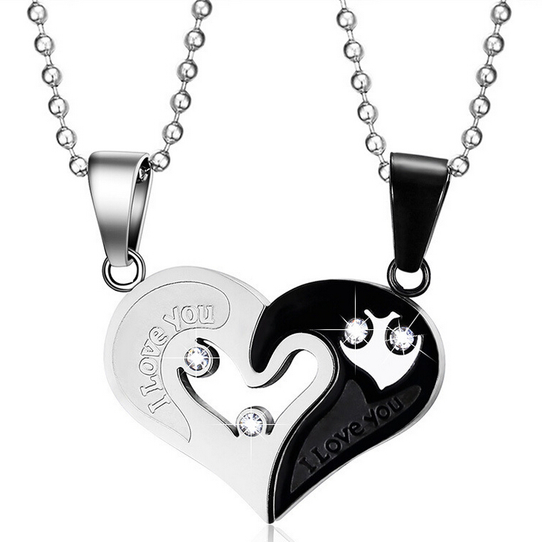 Promise 2pcs/lots Love Heart Necklace & Pendant Wholesale Stainless Steel Couple Jewelry For Men Women Jewelry