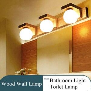 Скандинавский зеркальный светильник, простой современный водонепроницаемый стеклянный подвесной светильник, деревянный светодиодный нас...