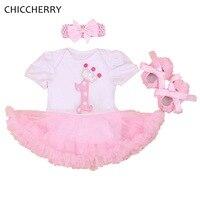 الوردي تاج 1 سنة عيد فستان الأميرة الرضع طفلة فساتين توتو + العصابة مجموعة vestido دي بيبي طفل الملابس