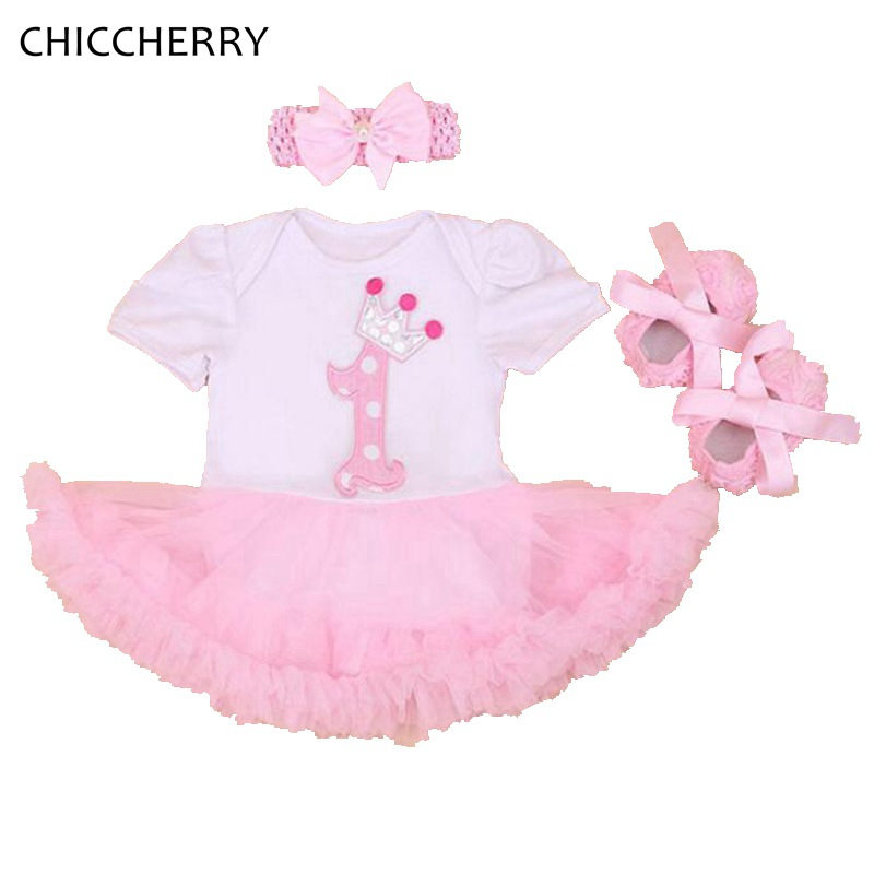 Pink Crown 1 Year Birthday Dress Princess Infant Baby Girl Tutu Dresses + Headband Shoes Set Vestido De Bebe Toddler Clothes