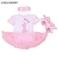 Cute Pink Birthday Tutu Outfits For Girls Classic Baby Lace Romper Sets Headband Cribs Shoes Ropa