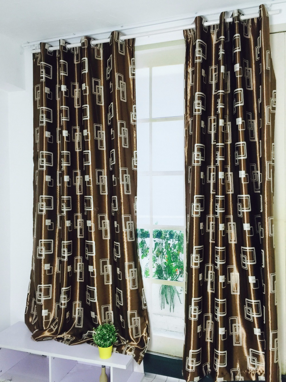 new brown color cloth curtains double sides shade curtains geometric curtains for bedroom and living room