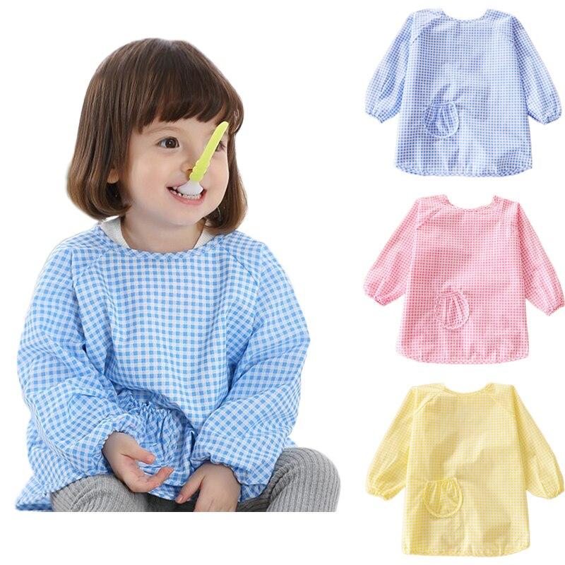 1-6Yrs Baby Feeding Bibs Kids Cotton Waterproof Smock Bib Plaid Long Sleeve Toddler Burp Cloths Children Bavoir Clothes Painting цена