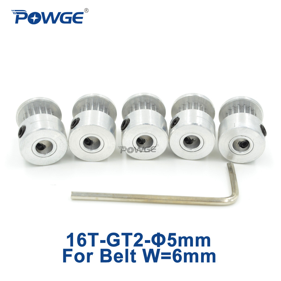 POWGE 16 teeth GT2 Timing Pulley Bore 5mm for Rubber 2GT Open Timing belt width 6mm small backlash (16Teeth) 16T 5pcs powge 8pcs 20 teeth gt2 timing pulley bore 5mm 6mm 6 35mm 8mm 5meters width 6mm gt2 synchronous 2gt belt 2gt 20teeth 20t