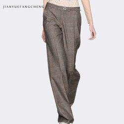 Pantalon, женские зимние Широкие штаны, высокая талия, плюс размер, шерстяные брюки, повседневные длинные женские штаны с поясом на молнии, свобо...
