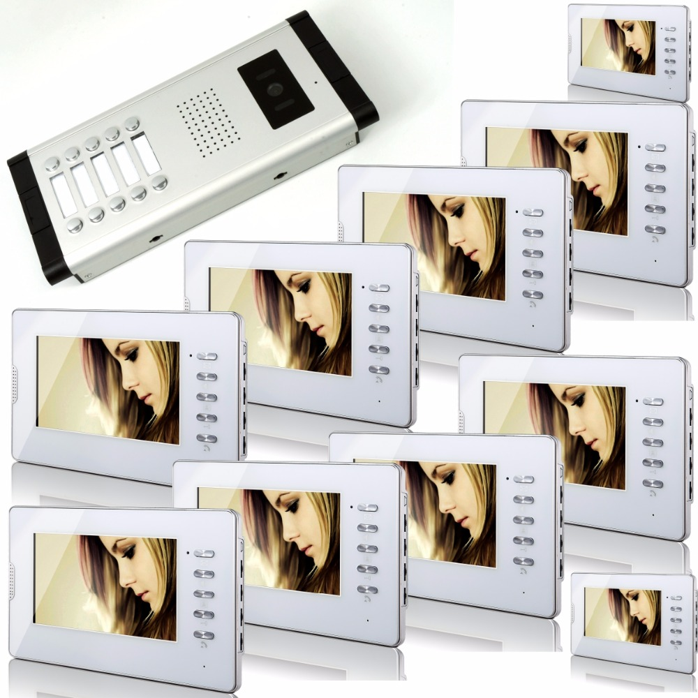 7 Inch Color  LCD  Monitor  Wired Intercom Video Door Phone With Ten Indoor  Monitor