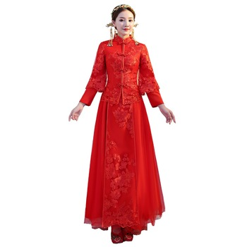 Shanghai Story Long Sleeve Qipao Chinese Wedding Clothing Red Embroidery Cheongsam Traditional Chinese Dress For Women