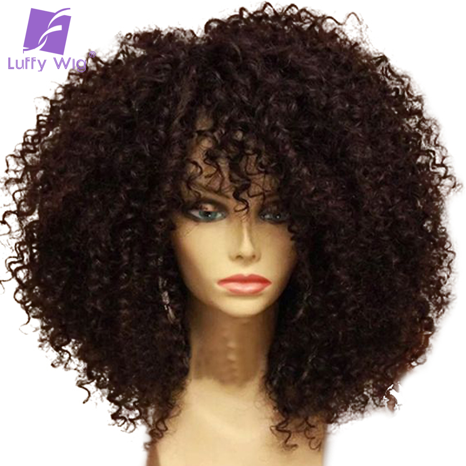 Luffy Non-Remy Kinky Curly Deep Parting13*6 Lace Front Human Hair Wigs Brazilian Natural Color 14-26