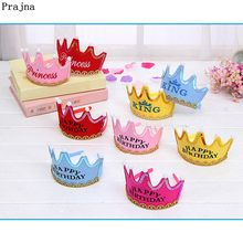 Prajna Birthday Hat Luminous Happy Birth Party Hats Cute Cap King Princess Crown Baby Shower Decorative Supplies Boy Girl Gifts(China)