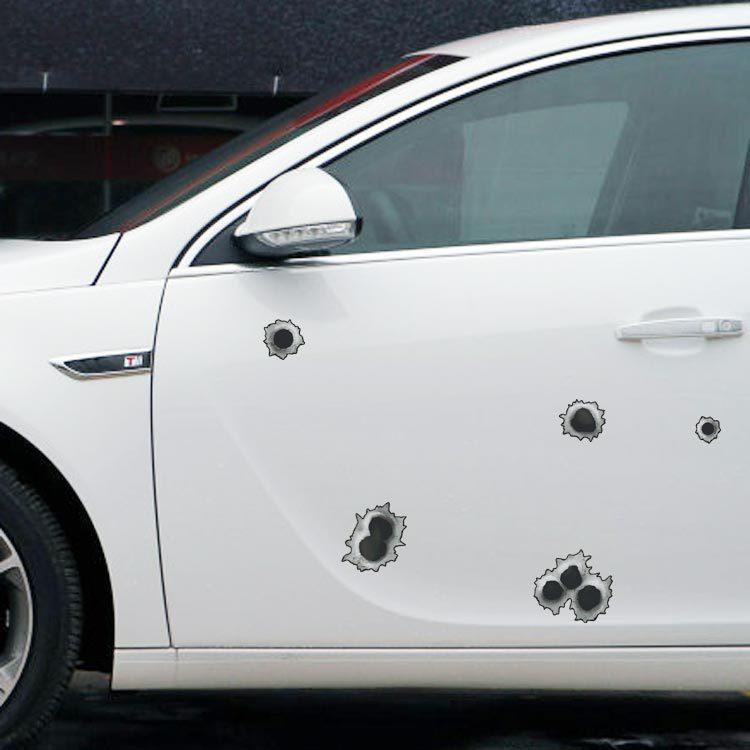 funny car decoration simulation of bullet holes car. Black Bedroom Furniture Sets. Home Design Ideas