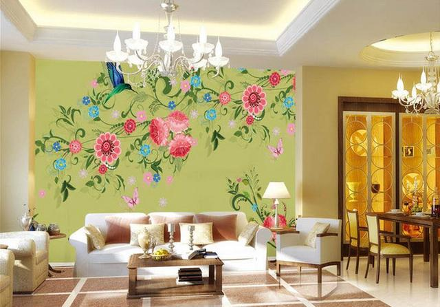 Hand Painted Flowers And Birds Tv Wall Decoration Painting Mural Wallpaper Photo Murals