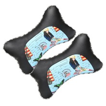 2 PCS Car Headrest PU Leather Neck Rest Safety Seat Support Head Pillow Cushion Styling Accessory Auto