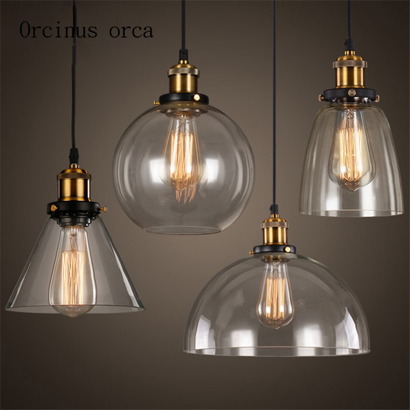 Simple North American style rural glass chandelier retro industrial wind restaurant study bedroom barSimple North American style rural glass chandelier retro industrial wind restaurant study bedroom bar