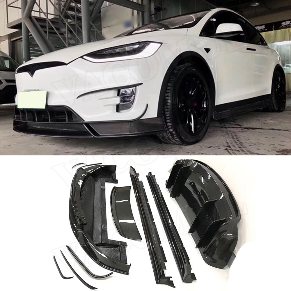 Fibre de carbone voiture avant pare-chocs arrière lèvre Splitters diffuseur Spoiler jupes latérales Kits de carrosserie pour Tesla modèle X voiture style