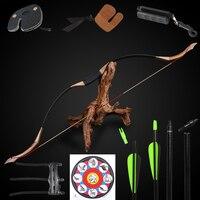 Стрельба из лука лук набор 30 50lbs изогнутый традиционный лук Стрельба Охота спортивные ламинирования древесины, стекловолокна стрелка целев