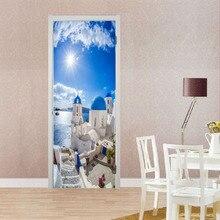 Door stickers for living room wall sticker kids rooms 3d wallpaper waterproof decoratio