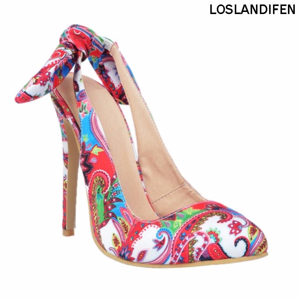 أزياء المرأة اليدوية 10cm Slingback في عقدة أحذية عالية الكعب زهرة XD009