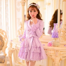Милое фиолетовое пальто принцессы, украшенное цветком и бантом, двубортное пальто в японском стиле, C16CD6129